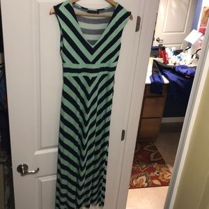 Green/navy striped maxi dress